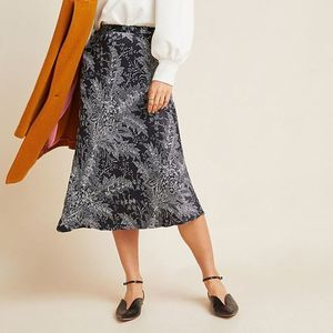Anthropologie Bias Satin Floral Midi Skirt 14